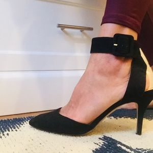 Zara Black Suede Ankle Strap Pump